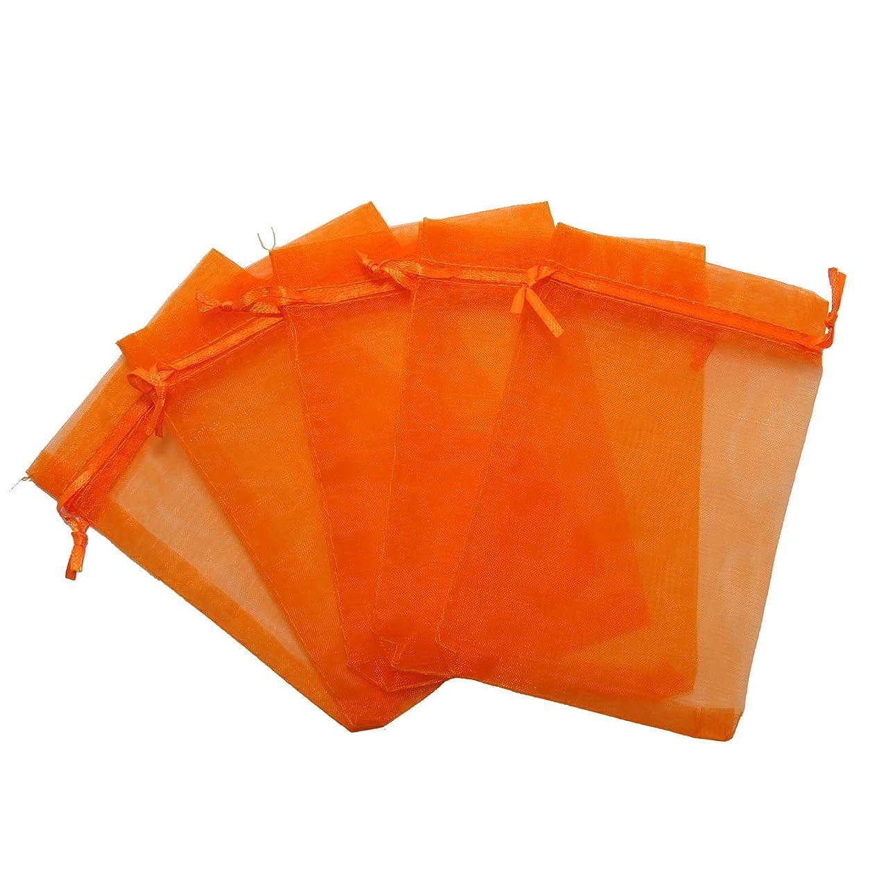 RakrisaSupplies 100Pcs Orange Organza Bags 8x12