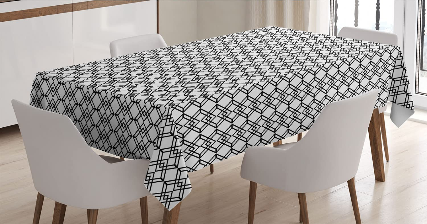 Ambesonne Black and OFFicial White Tablecloth Style Detroit Mall Monochrom Lines Grid