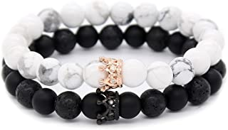 Couple Black Matte Agate & White Howlite CZ Crown Queen 8mm Beads Bracelet, 7.5