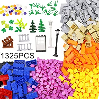 MARUMINE Classic Building Bricks Bulk 1325 Pieces with Basic Blocks, Baseplate, Door, Roof, Plant, STEM Toys Construction ...