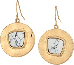 The Sak Round Drop Stone Earrings