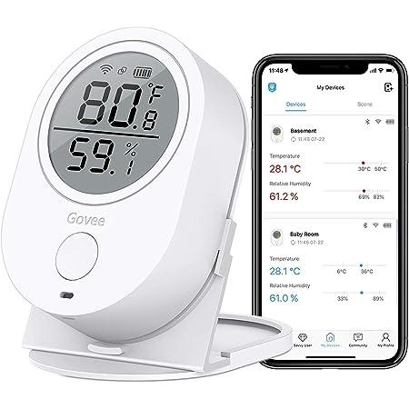 Govee Monitor di umidità di Temperatura, WiFi Digitale Igrometro Termometro Interno, Wireless Temp umidità Sensore di umidità con Avvisi per Casa Garage Cigar Humidor [Non supportano 5G WiFi].