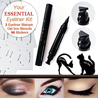 Eyeliner Tool Kit: 2 Double Sided Wing Eyeliner Stamps, 96 Pairs of Eyeliner Guide Stickers, Cat Line Eyeliner Stencils