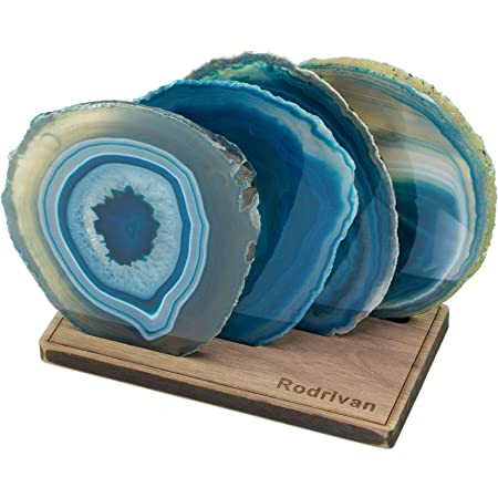 Blue or Natural//Brown Choose from 6 styles Agate Slice Drink Coasters Set of 4