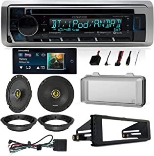 Bluetooth Radio AUX USB CD Player, Kicker 6.5 Inch CS Coaxial Speakers, Installation Parts for Select 98-13 Harley Davidson Motorcycles with Thumb Controls, Radio Cover, Sirius XM Commander