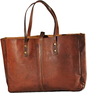 Urban Dezire Genuine Goat Leather Tote Purse Bag Vintage Large Handbag (Brown)