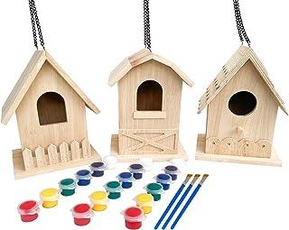Backyard Paradise | Premium Paint Your Own Birdhouse Kit | Wooden Bird House (Each Includes 6 Paint Colors and Brush) | Pa...