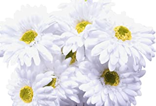 CraftMore White Gerbera Daisy Stems 14 Inch Set of 12