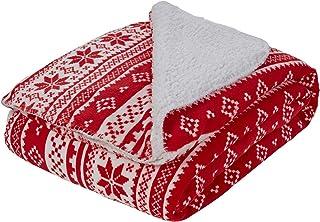 """Dreamscene Sherpa Flanellen Fleece Deken Faux Fur Twin Volledige Gooi Over - Nordic Red White, 59"""" x 70"""""""