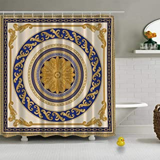 C COABALLA Vector Shawl Print Baroque Floral Scroll Vector Modern Shower Curtain for Bathroom,72''L x 72''W