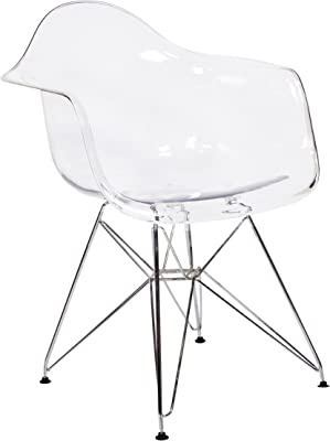 amazon new pacific direct 6100028 tc allen modern plastic chair Fifties Furniture design tree home charles eames style daw arm chair clear abs plastic and stainless steel