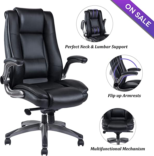 VANBOW High Back Leather Office Chair Adjustable Tilt Angle And Flip Up Arms Executive Computer Desk Chair Thick Padding For Comfort And Ergonomic Design For Lumbar Support Black