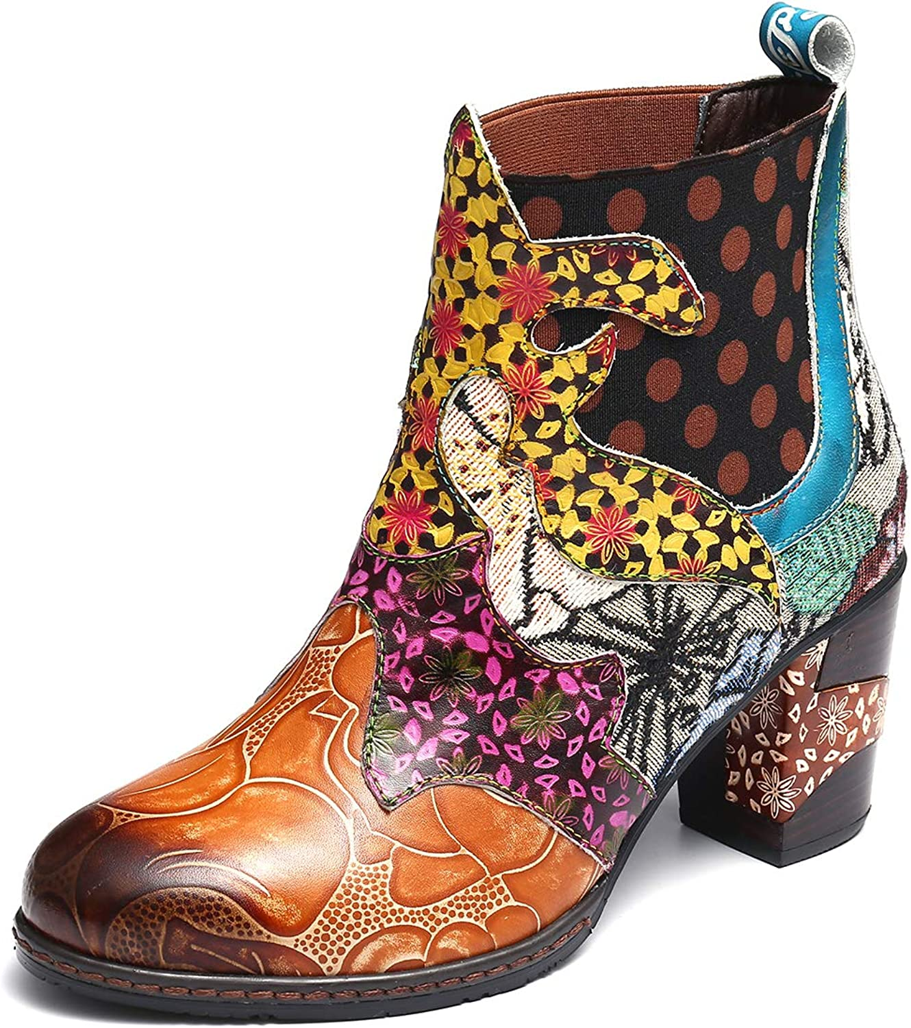 Gracosy Women Leather Ankle Boots Slip On Mid Block Heel Booties Vintage colorful Bohemian Booties Size
