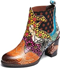 gracosy Ankle Boots for Women, Block Heel Leather Ankle Booties Oxford Retro Handmade Flower Splicing Pattern