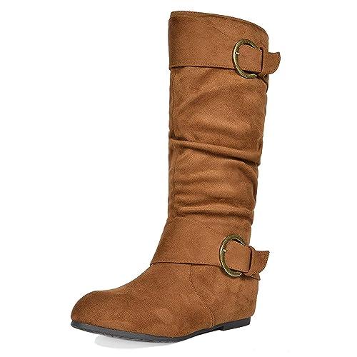 9c078af5917c6 DREAM PAIRS Women's Knee High Low Hidden Wedge Boots (Wide-Calf)