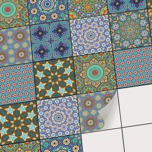 creatisto Fliesenaufkleber Mosaikfliesen Fliesensticker I Dekorsticker Fliesen Folie Sticker Küche renovieren Bad Wandtattoo Wandfliesen I 10x10 cm - Motiv Orientalisches Mosaik - 9 Stück
