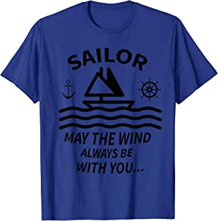 Sailor T-Shirt Design Ocean Boat Steering Wheel Wind Wave
