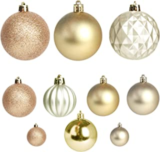 Jusdreen 50 Pcs Christmas Tree Hanging Balls Decoration Roping Baubles Set Christmas Package Tree Ornament - Gold&Champagne