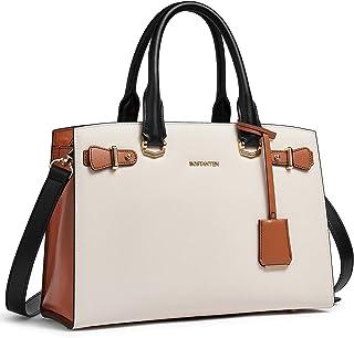 BOSTANTEN Damen Leder Handtasche Schultertasche Elegante Umhängetasche Henkeltasche Ledertaschen Tote Bag Beige