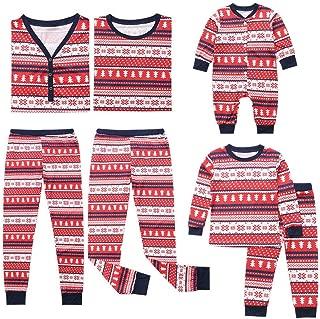 Hzjundasi Weihnachten Familie Matching Lange /Ärmel Bluse und Plaid Lange Hosen Pyjama Set Xmas PJs Schlafanz/üge Nachtw/äsche Feiertag Suit f/ür Dad Mom Kinder Baby