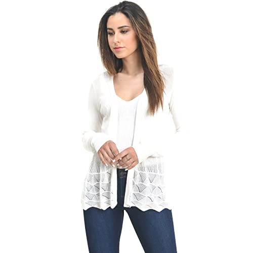 Instar Mode InstarMode Women s Long Sleeve Crochet Knit Sweater Draped Open  Cardigan 6c7b2a31c