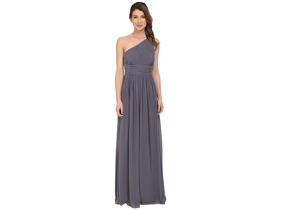 Donna Morgan Rachel One Shoulder Strapless Gown (Charcoal) Women