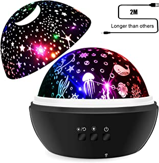 SYOSIN Baby Night Light Star Projector Lamp Warm White Kids Night Light Ocean Undersea Lamp and Starry Sky Projector, 8 Colors 360° Rotating Kids Night Light for Bedroom, Birthday, Parties Decor