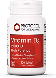 Protocol For Life Balance - Vitamin D3 2,000 IU (High Potency) - Supports Calcium Absorption, Bone and Dental Health, Immu...