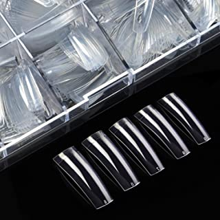 Clear Nail Tips Acrylic Nails - ECBASKET Half Cover French Fake Nail Tips 500pcs with Box False Nail Tips for Nail Salons and DIY Nail Art at Home