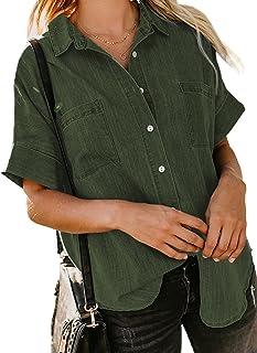 Astylish Womens Button Down Shirts V Neck Loose Casual Shirt