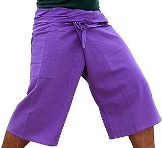 RaanPahMuang 品牌纯色棉泰国渔夫七分裤裹身长裤