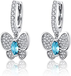 925 Sterling Silver Family Tree of Life Dangle Earrings 5A Cubic Zirconia Drop Earrings Gift for Women Girls Threader Earrings for Women