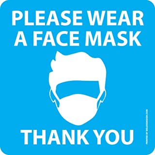 """""""Please Wear a Face Mask"""" Photo Tex Window or Wall Sticker - 2 pack - MADE IN USA - Easy Peel & Stick Signs, Reusable, Str..."""