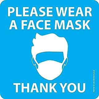 """ملصق نافذة أو حائطي عليه عبارة """"Please Wear a Face Mask"""" - عبوتان - صُنع في الولايات المتحدة الأمريكية - سهل التقشير واللص..."""