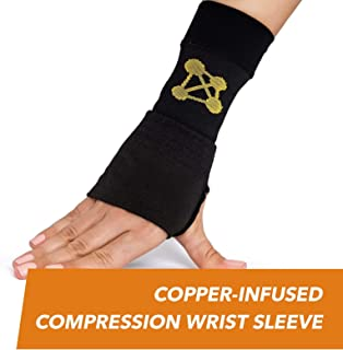 CopperJoint – Copper-Infused Compression Wrist Sleeve, High-Performance Design Promotes Improved Circulation to Help Reduce Inflammation and Pain, Single Sleeve