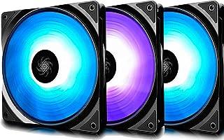 DEEP COOL RF120 Ventilador para Ordenador,3x120mm RGB PWM Ventiladores de Caja con 2 Hubs, Compatible con ASUS Aura Sync, Controlado por Placa Base de Conector de 12V 4-Pin RGB