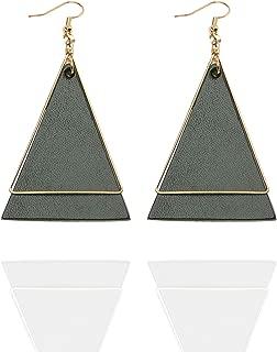 Genuine Leather Earrings Triangle Geometric Leather Star Moon Dangle Drop Earrings Lightweight Fashion for Women Girls