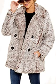 Pink Queen Women's Faux Suede Fall Fahion Open Front Drape Jacket Cardigan Coat