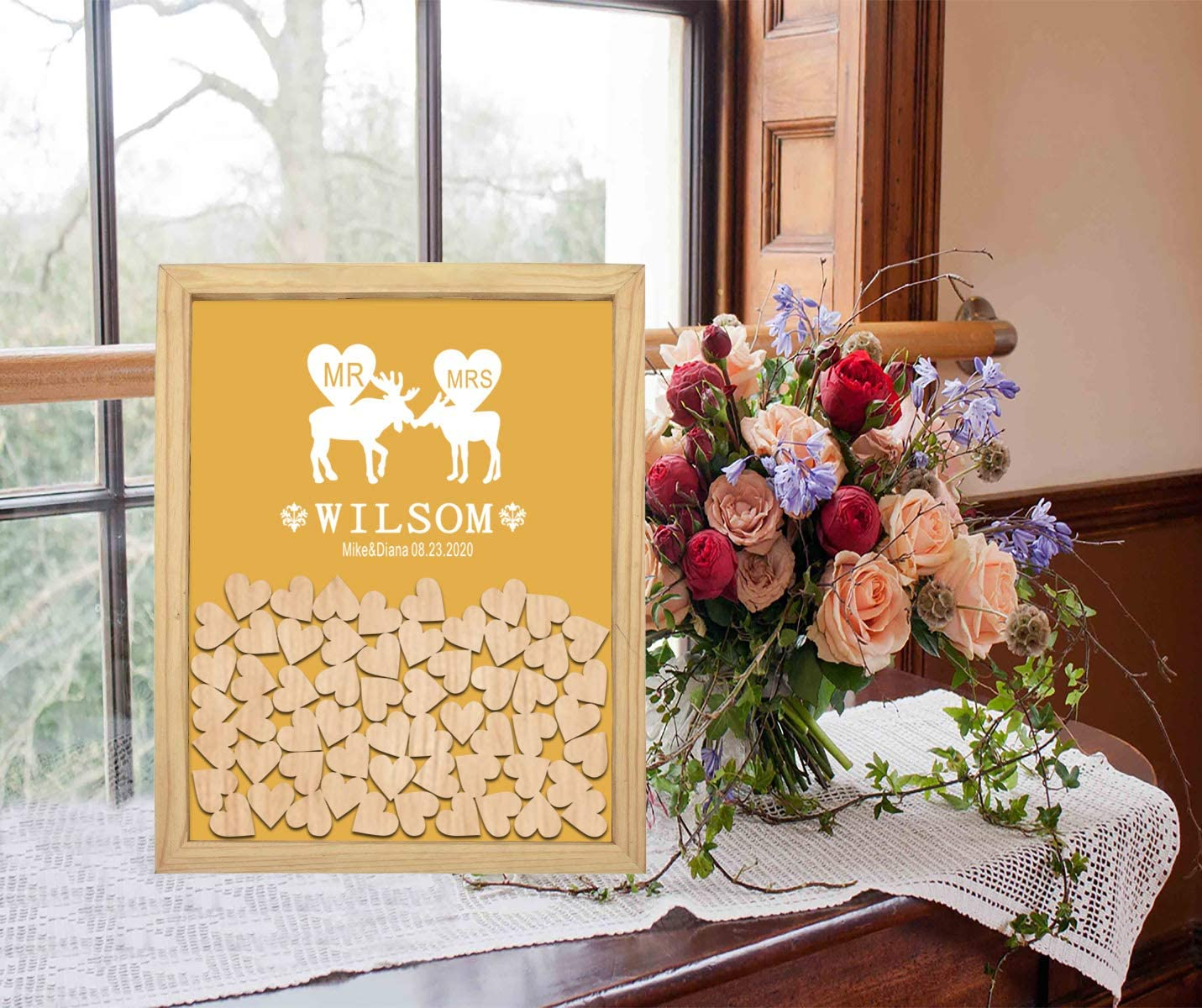 PotteLove Personalized Drop Box Wooden Frame Wedding with Mrs Ranking Selling rankings TOP13 Mr