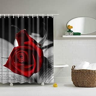 GoJeek Red Rose Black Book Page Shower Curtain Tea Rose Flower Fabric Bathroom Curtain (66''' 72''')