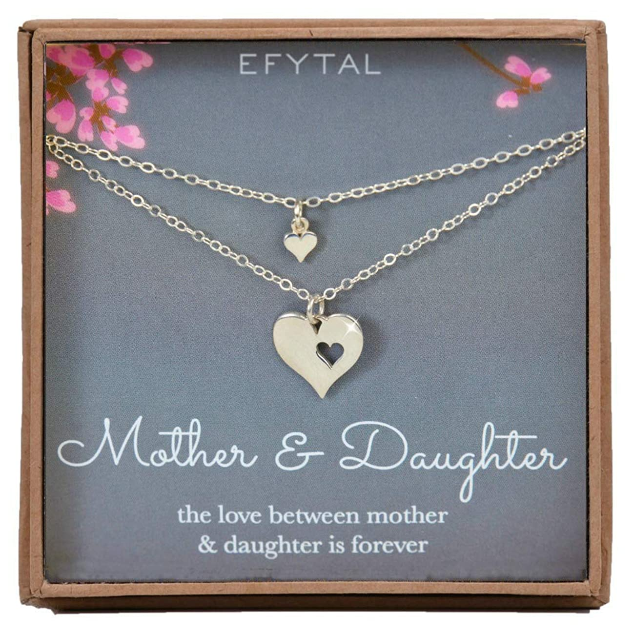 EFYTAL Mother Daughter Set for Two, Cutout Heart Necklaces, 2 Sterling Silver Necklaces
