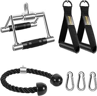 ضمیمه های دستگاه کابل طناب DYNASQUARE Tricep ، اتصالات Pulldown LAT ، با دسته های دو D ، دسته های ورزشی باندهای مقاومت ، لوازم جانبی برای کشیدن به پایین ، آموزش قدرت بازو ، بدنسازی خانگی