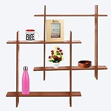 Ebee Intersecting Floating Wall Shelf (Standard, Brown)