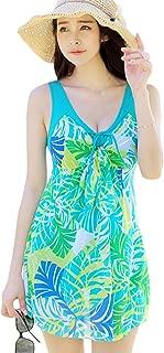 chouyatou Women's One Piece Printed Mesh Beach Swim Dress Bow-Knot