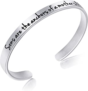 Awegift Bracelet for New Mom Mother's Day Jewelry Gift Sons are The Anchors of a Mother's Life