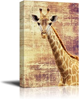 wall26 - Canvas Print Wall Art - Giraffe on Grunge Abstract Background - Gallery Wrap Modern Home Decor | Ready to Hang - 16x24 inches