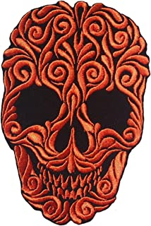 Embroidery Skull Pattern Sewing Iron on Colors embroidered (Orange)