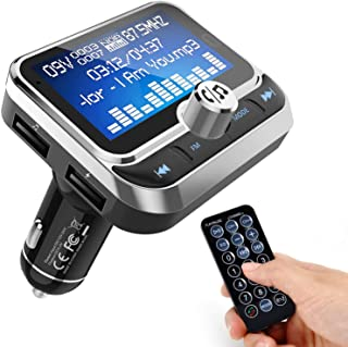 WYYHAA Bluetooth FM Transmitter for Car, Wireless Bluetooth 4.1 Radio Adapter Car Kit with Handsfree Calling 2 USB Ports V... photo