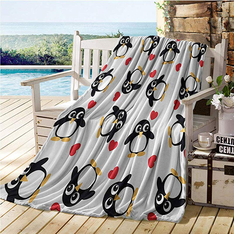 Mademai Sea Animals Decor Swaddle Blanket Penguins With Heart Shapes Lovely Sweet Romantic Valentines Day Cooling Blanket 70 X80