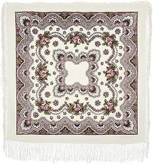 Pavlovo Posad Russian Shawl Pashmina Scarf Wrap White №243 100% Wool 49x49''